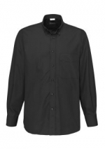 Jeff herenoverhemd zwart langemouw button down