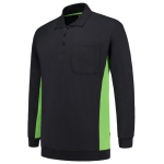 TS2000 bi colour polosweater met zak lime navy