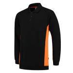 TS2000 bi colour polosweater met zak black orange